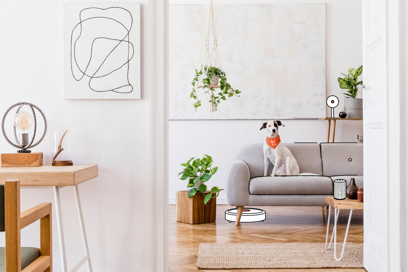 Dog sitting on a sofa inside a home. The dog is wearing an orange bandana, and it's surrounded by green plants and smart home technology.