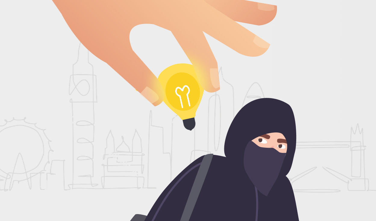 Graphic of a burglar and a hand holding a lightbulb over their head.